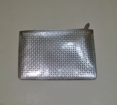 Alaia Silver Leather Arabesque Clutch Bag Laser Cut