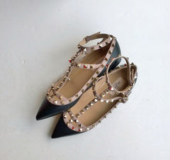 Valentino Garavani Rockstud Flats in Black Leather discount shoes