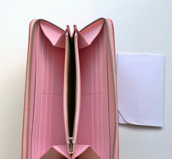 Celine Large Zipped Wallet in black and pink leather