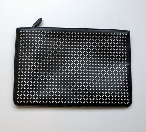 Alaia Arabesque Black Leather laser cut white backing clutch evening bag