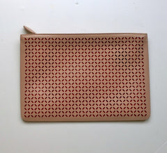 Alaia Arabesque Leather Laser Cutout clutch bag in beige nude and red purse