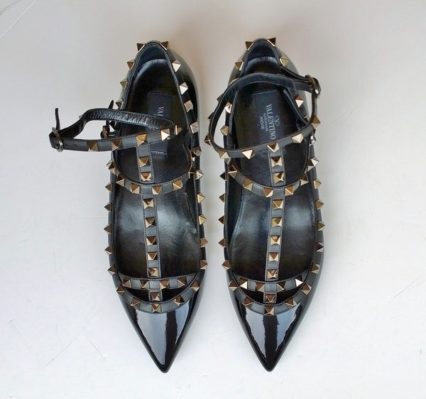 Valentino Noir Rockstud Flats in Black Patent with black straps and black studs