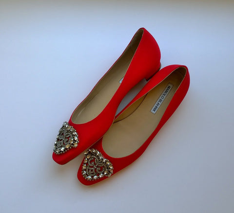 Manolo Blahnik Okkato Rhinestone Buckle Red Satin Flats Shoes 10