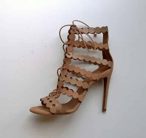 Alaia Beige Warm Nude Leather and Suede Sandals heels