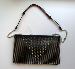 Christian Louboutin Loubiposh Black Purse with Silver Studs and detachable shoulder strap