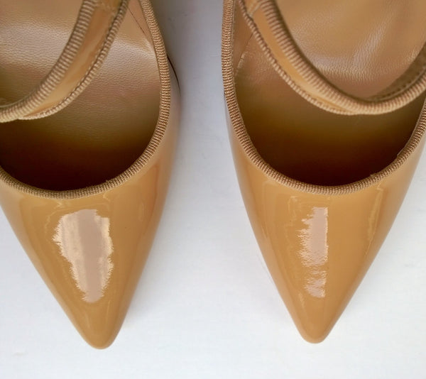 Manolo Blahnik Campari 90 Nude Patent Mary Jane Pumps Heels
