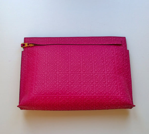 Loewe Anagram Bright Pink T Pouch Clutch Bag Fuchsia