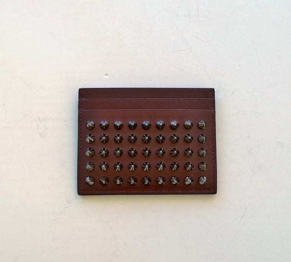 Christian Louboutin Burgundy Kios Card Holder Dark Grey studs