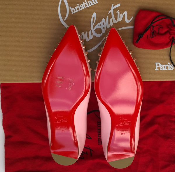Christian Louboutin Spikyshell Pink Leather Flats shoes sale