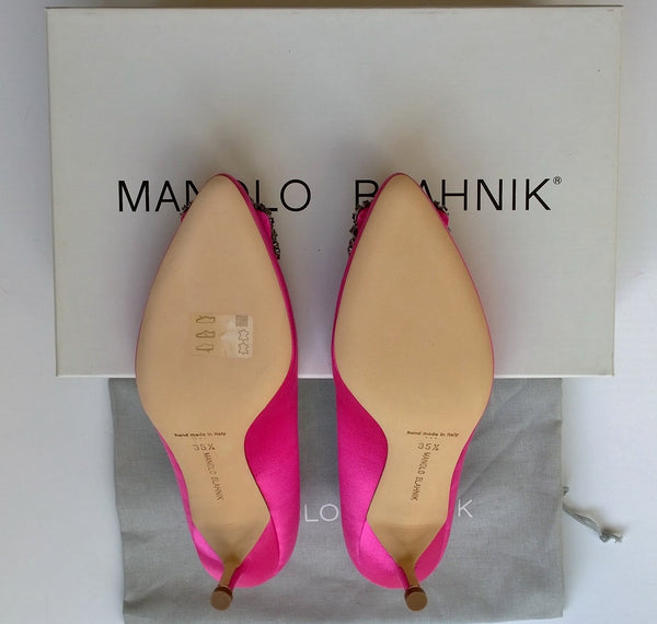 Manolo Blahnik Hangisi Pink Satin Rhinestone Heels  buckle court shoes 50
