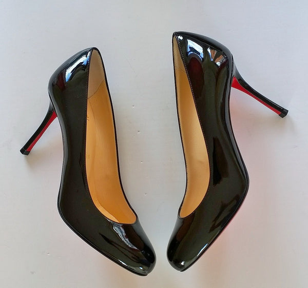 Christian Louboutin Fifetish 85 Black Patent Heels
