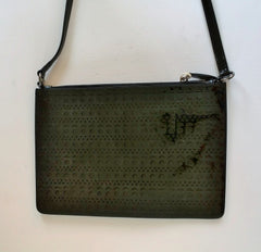 Alaia Black Laser Cut Out Clutch Bag with shoulder strap