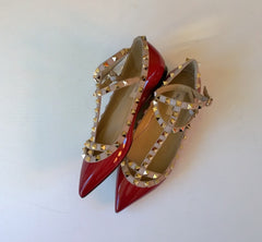 Valentino Garavani Dark Red Patent Flats sale pumps burgundy rubino shoes