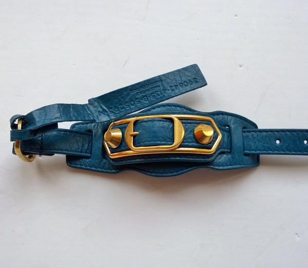 Balenciaga Blue Leather City Bracelet with gold studs