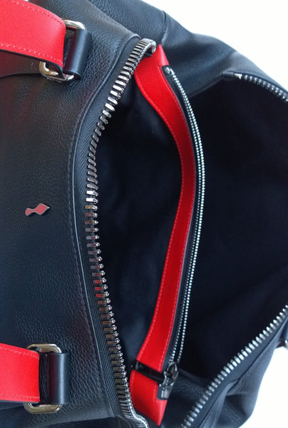 Christian Louboutin Bagdamon Black Leather Bowling Bag Red Soles new