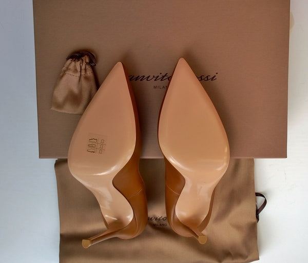 Gianvito Rossi 105 Leather Heels in Tan Brown Shoes Cuoio