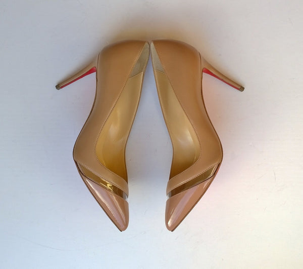 Christian Louboutin 17th Floor 85 Heels in beige Nude Patent and Leather