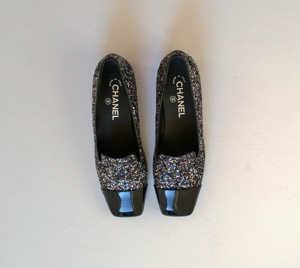 Chanel Glitter Loafers CC Flat Shoes Black Patent Cap Toe New