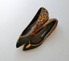 Tom Ford Calf Leopard Zipper Flats new in box shoes