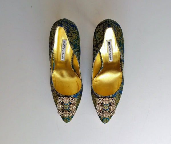 Manolo Blahnik Brocade Hangisi Heels 105 strass buckle shoes nib new in box