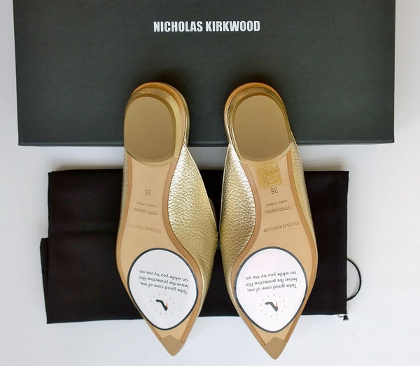 Nicholas Kirkwood Beya Slippers new in box loafers flats Gold metallic leather