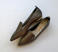 Nicholas Kirkwood Beya Loafers in Pewter Metallic Leather new in box