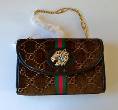Gucci Rajah Velvet Medium Brown Bag with GG Logo