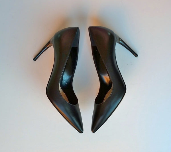 Alexander McQueen Black Leather Horn Heel Pumps