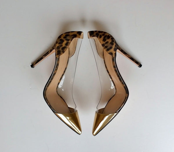 Gianvito Rossi Plexi Heels in Leopard Suede and Gold PVC 105 shoes