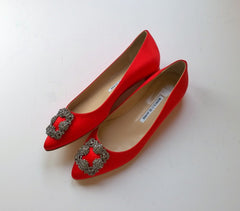 Manolo Blahnik Hangisi Red Satin Flats with rhinestone buckle new in box
