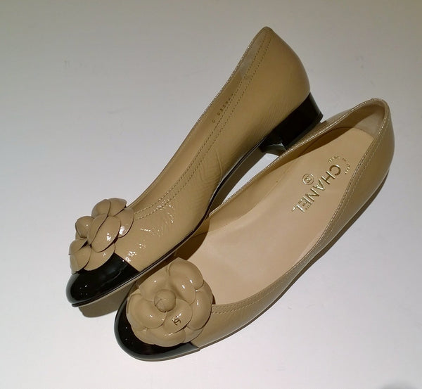 Chanel Camellia Two Tone Flats in Beige and Black Patent