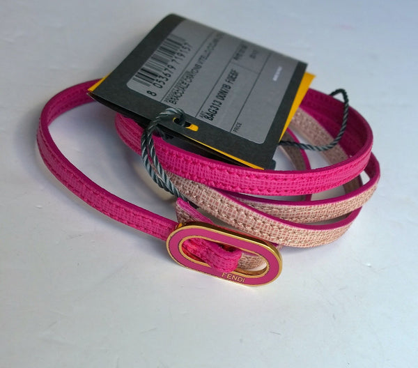 Fendi Crayons Textured Leather Pink Double Wrap Bracelet with Enamel Buckle