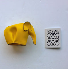 Loewe Leather Elephant Coin Purse in Yellow