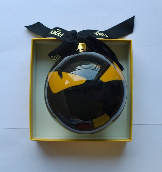 Fendi Glass Bauble Christmas Tree Decoration Monsters Black Ornament