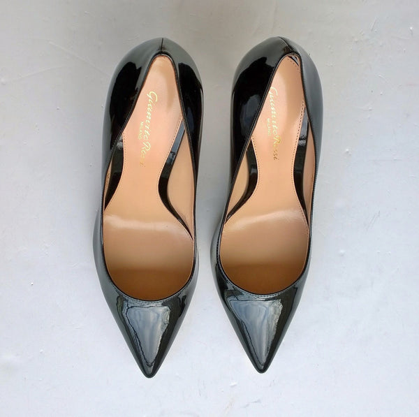 Gianvito Rossi Black Patent 85 Heels Sale Shoes