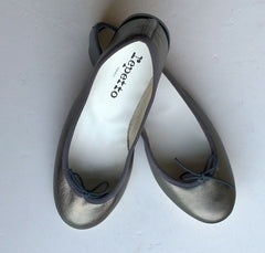 Repetto Beluga Metallic Grey Leather Ballet Flats Pewter Ballerina Pumps Sale