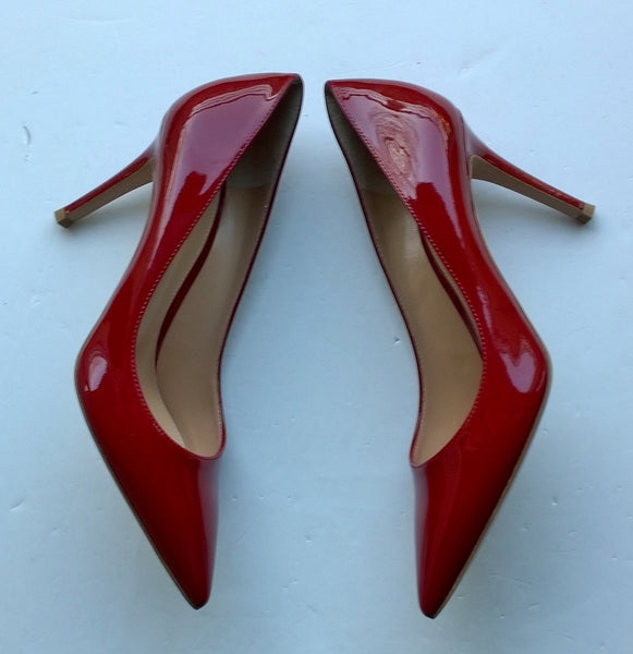 Gianvito Rossi Dark Red Patent 85 Heels Sale Shoes