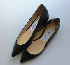 Jimmy Choo Romy Black Leather Pumps Flats sale shoes
