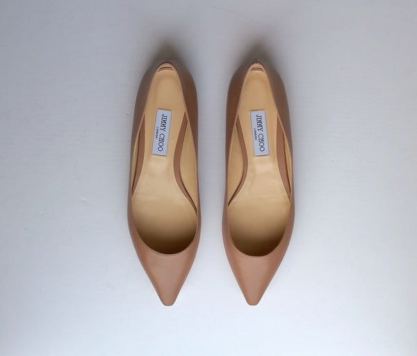 Jimmy Choo Romy Ballet Pink Leather Pointy Flats pumps nib new