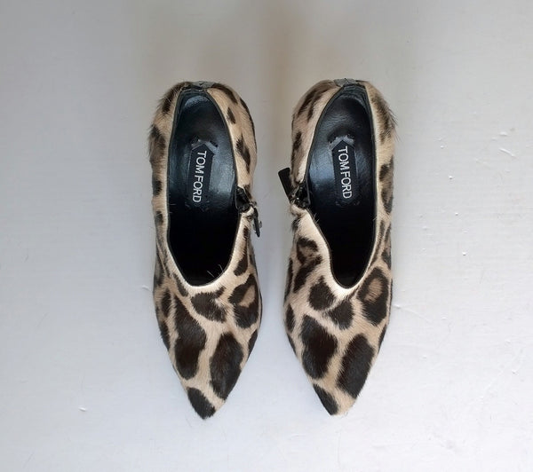 Tom Ford Snow Leopard Calf Ankle Boots new in box heels