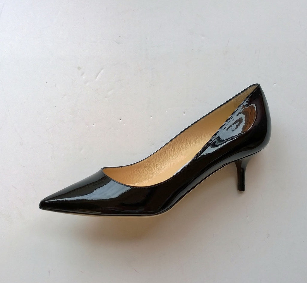 Jimmy Choo Aza Black Patent Leather Pump Pointy Toe Low