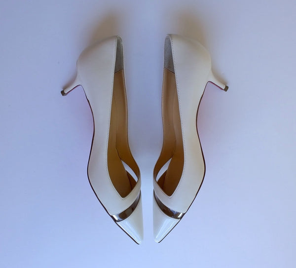 Christian Louboutin 17th Floor 55mm Heels in Latte White Leather and Patent PVC shoes