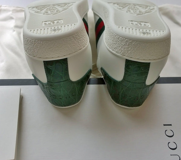 Gucci New Ace Classic Green Sneakers in White Leather new in box trainers