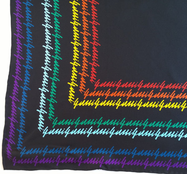 Gucci Rainbow Black Calligraphy Silk Scarf