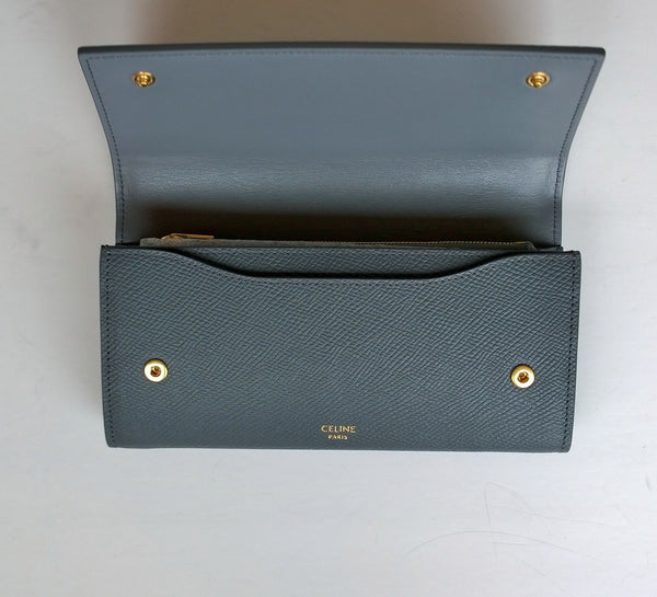 Celine Flap Continental Wallet Large Grained Gray Leather