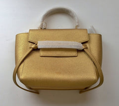 Celine Belt Nano Handbag in Gold Laminated Calfskin Leather new with dust bag