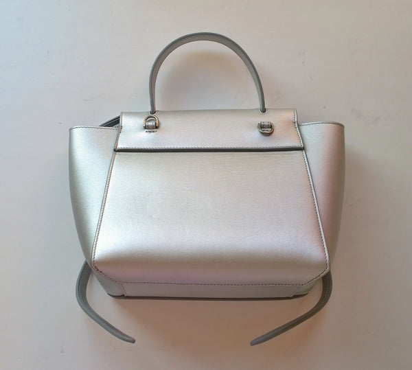 Celine Belt Nano Bag in Silver Laminated Leather