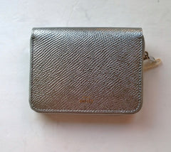 Celine Compact Wallet in Laminated Silver Leather Purse