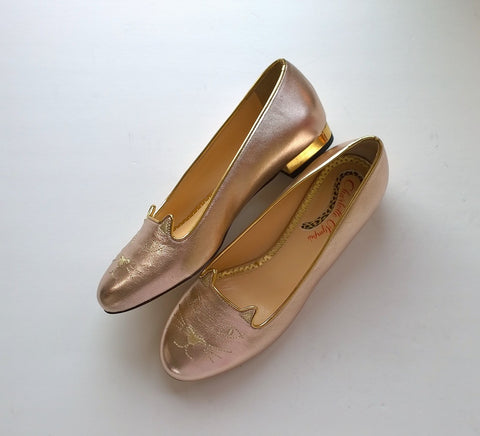 Charlotte Olympia Kitty Flats Rose Gold Leather new in box
