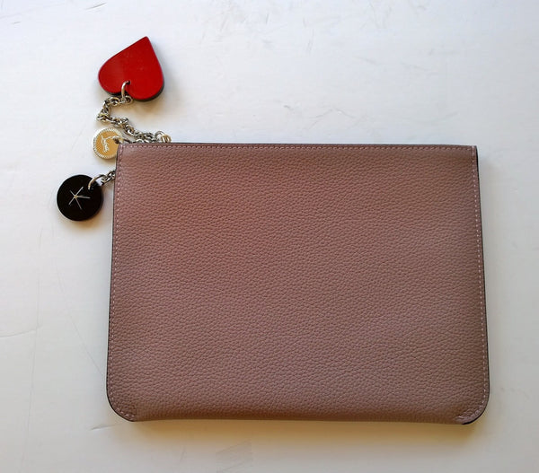 Christian Louboutin Loubicute Clutch Bag with Charms in Poudre